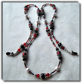 Black Red & Silver Beaded Eyeglass Chaim