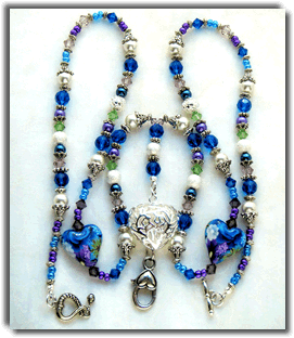 Blue and Purple Polymer Clay Beaded Lanyard