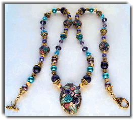 Blue and Purple Roses Polymer Clay beaded necklace