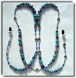Blue & Turquoise  Beaded Eyeglass Chaim