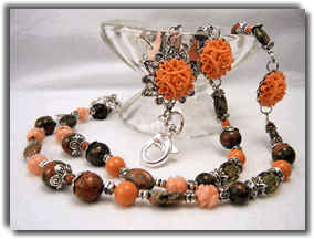 Coral and Unakite Beaded Lanyard