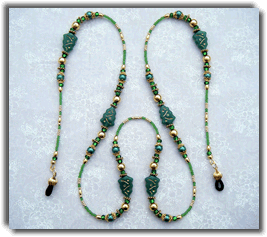 Green Christmas Tree Beaded Eyeglass Chain