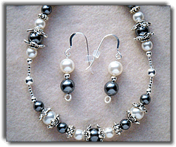 Gray and White Beaded Necklace with Matching Earrings