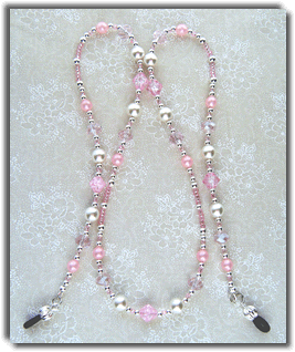 Pink & White Beaded Eyeglass Chain