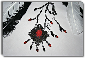 Red Rose on Black Gothic Victorian Vintage Necklace and Earrings Set