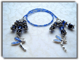 Blue Tink Beaded Bookmark