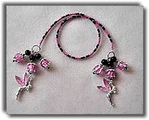 Pink and Black Tink Beaded Bookmark